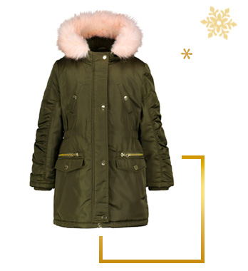 Layer up with a padded parka coat