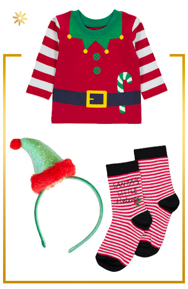 Turn your little one into an adorable elf with a T-shirt, headband and socks