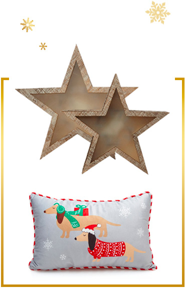 Create a festive home with warm lights and novelty cushions