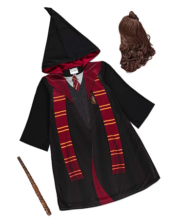 Product image of George Gryffindor Halloween costume, including robe and wand