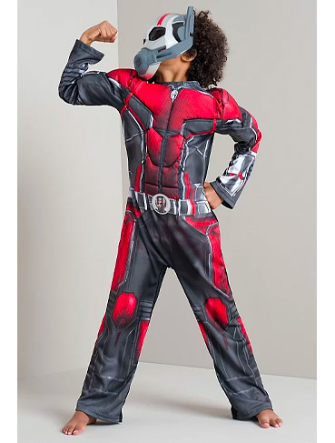 Child posing wearing George Ant-Man Halloween costume