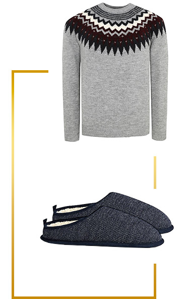 Lounge around at home in a cosy jumper and slippers