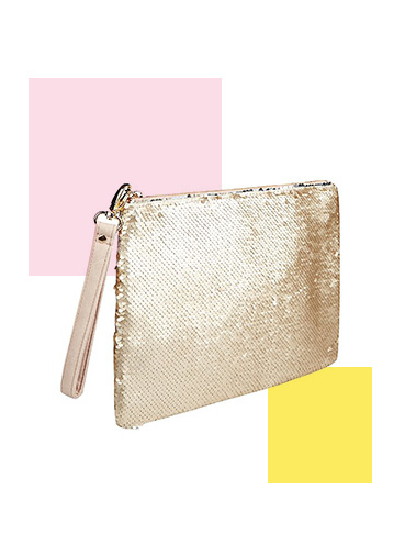 Add sparkle to any holiday outfit with a gold-effect clutch bag