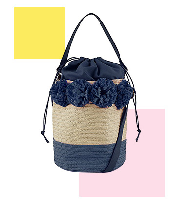 Created in a sturdy weave, this bucket bag has deep carry space with sturdy handles and a drawstring