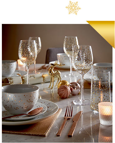 Bring a touch of luxe to your table with our gold-effect dinnerware range