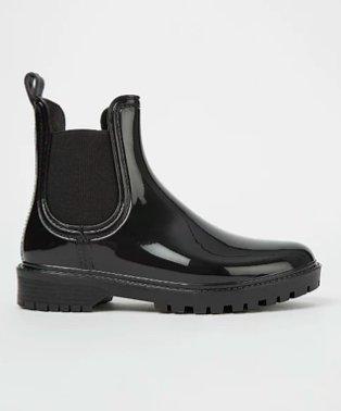 Black patent ankle wellington boots.