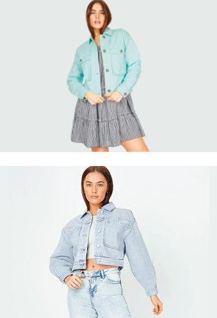 Woman poses wearing tiered tie strap gingham dress and turquoise twill shacket. Woman poses wearing grey ribbed vest, lightweight cropped denim jacket and acid-wash jeans.