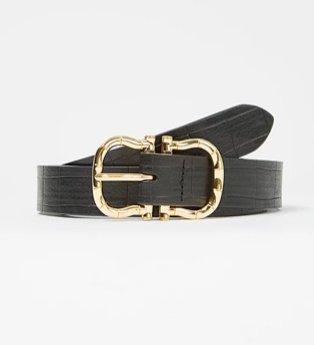 Black and gold buckle detail belt.
