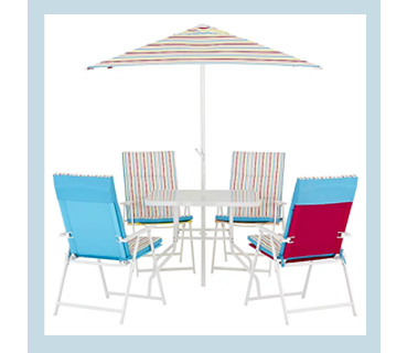 This Miami 8 piece patio set with a vibrant Pop design will brighten up any garden