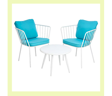 Our Impressions 3 piece bistro set is finished in a classic soft cream with subtle fabrics in a light blue tone