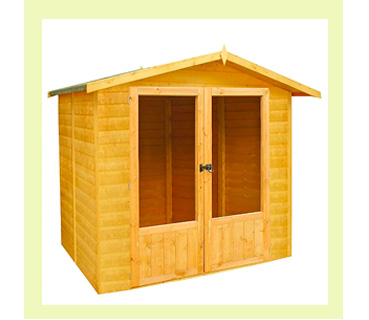 With glazed doors and a large canopy, this summerhouse is an attractive addition to any garden or patio