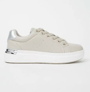 Grey plated back trainers.
