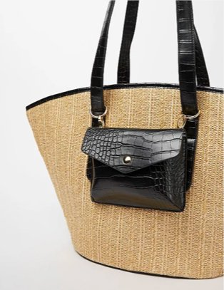 Woven tote bag and coin purse.
