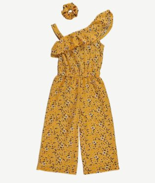 Yellow floral one shoulder jumpsuit and scrunchie.