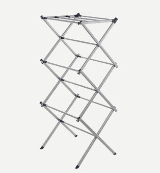 Silver-tone folding metal clothes horse laundry dryer.