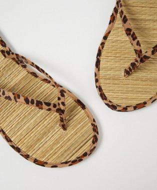 Leopard print woven footbed flip flops.