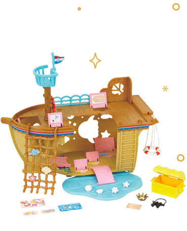 Explorers can set sail on an adventure with this Sylvanian Families Treasure Ship