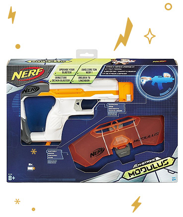 This Nerf kit includes blast shield for extra protection
