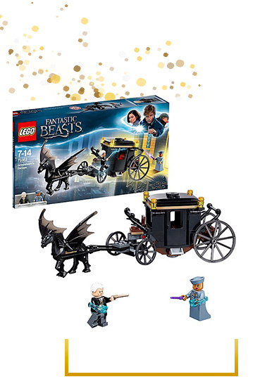 Help stop the evil Grindelwald from escaping in the flying carriage with this Fantastic Beasts LEGO set