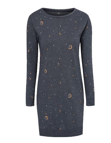 Product image of navy star print sweatshirt nightdress