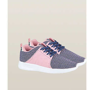 These trainers have blue laces and pink panel details