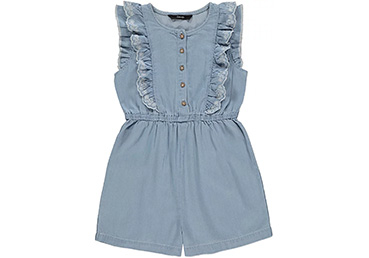 With little embroidered flowers and a ruffled bodice, this denim playsuit is full of adorable summer style