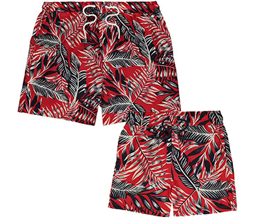 With a vibrant tropical print, they'll look their best matching dad in these swim shorts