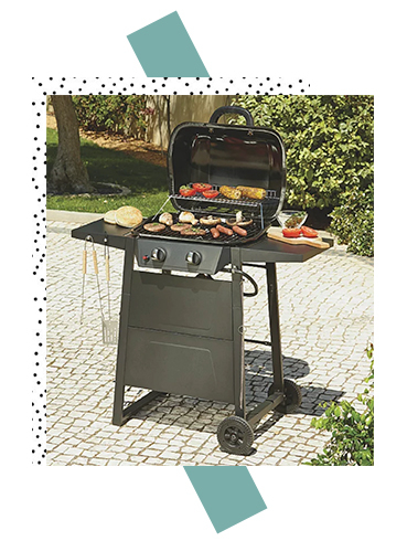 The Expert Grill 2 Burner gas BBQ has a warming rack and side shelf with storage hooks for tools