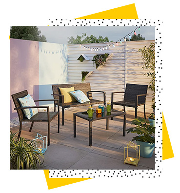 Relax outdoors on warmer days with this Turbary rattan sofa 4 piece set, complete with coffee table, sofa and two chairs