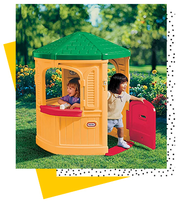 This Little Tikes playhouse features large windows, a working Dutch door, a counter with pretend sink and a stove with a 'burner'