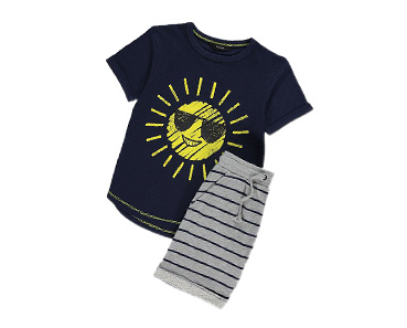 Kit them out with a playful T-shirt and shorts outfit