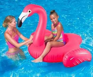 Swimming pool features woman wearing pink bikini smiling at young girl on summer waves flamingo ride-on float wearing multicoloured swimsuit.