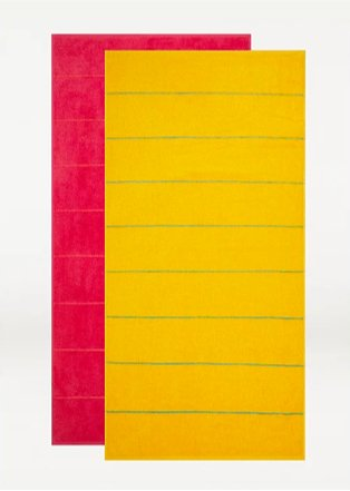 Yellow & pink stripe beach towel - set of 2.