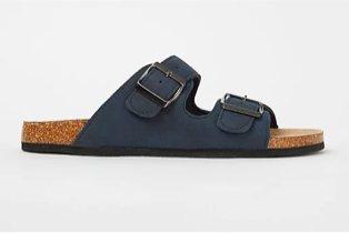 Navy blue 2 strap slip on sandals.