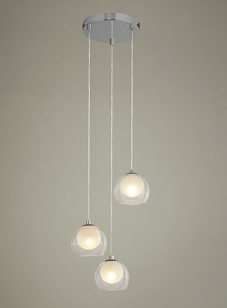 Chrome ceiling light with three hanging bulbs with shades