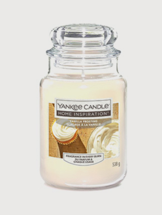 Large Yankee candle with vanilla frosting fragrance