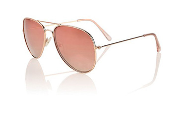 Dazzle in the sun in a pair of rose gold tone mirrored Aviator sunglasses