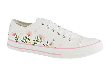 These white canvas lace-ups are designed with flowers and pink butterflies