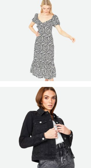 Woman poses looking down wearing monochrome daisy print tiered midi dress. Woman poses wearing white top, black denim jacket and grey acid wash jeans.