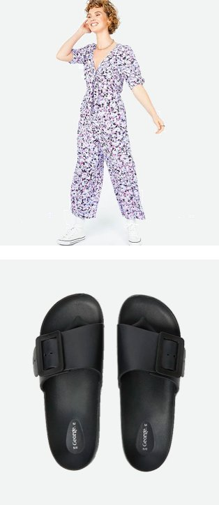 Woman poses wearing purple floral print jumpsuit and white pumps. Black buckled strap slider sandals.
