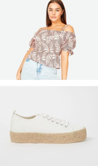 Woman poses wearing pink tropical leaf print cold shoulder top and light blue acid wash jeans. White jute sole canvas shoes.