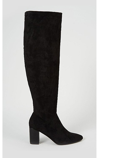 Product image of black suede effect over the knee boot