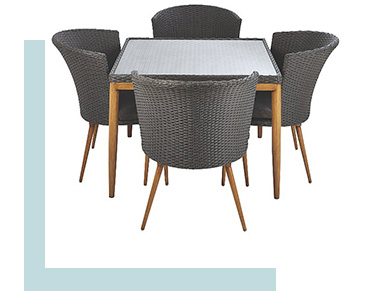 This grey patio set comes with a glass table and four chairs
