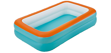 Fill and swim! This blue inflatable paddling pool features an orange rim