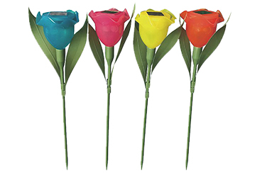 Illuminate your garden with these fun rose-shaped lights in blue, pink, yellow and red