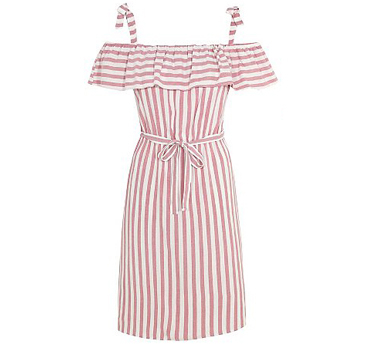 This midi dress comes in a vintage dusky pink with candy stripes