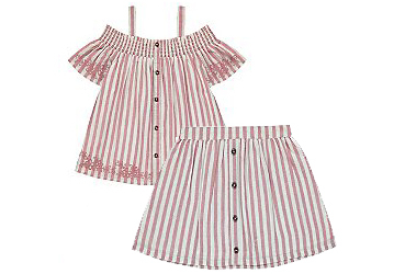 Your little one will look great in a matching skirt and top