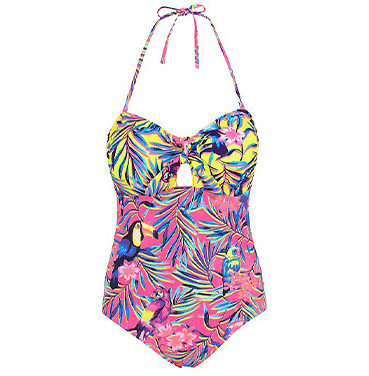 This bold and vibrant tropical print swimsuit is perfect for popping in your suitcase