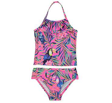 This brightly coloured tankini and bottoms set will make them stand out when swimming with you in the pool
