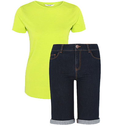 Pair denim shorts with a vibrant neon green top